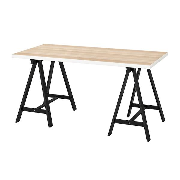 利蒙 / 奥瓦德 桌子 白色 仿白色橡木纹/黑色 150 厘米 75 厘米 73 厘米 50 公斤