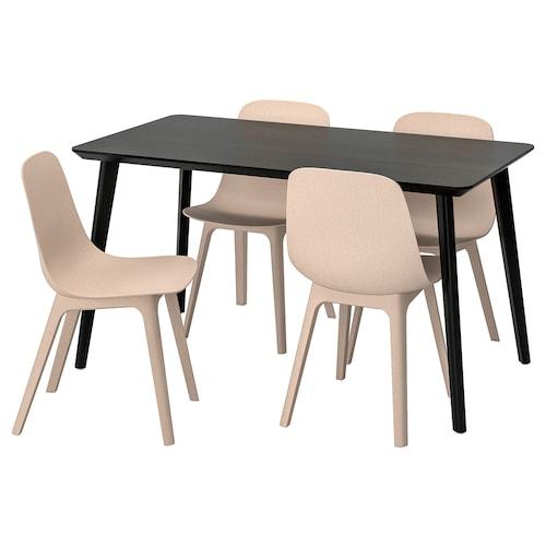 利萨伯 / 奥德格 一桌四椅 黑色/米黄色 140 厘米 78 厘米 74 厘米