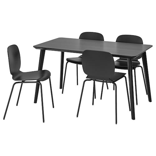 利萨伯 / 思伯帝 一桌四椅 黑色/黑色 140 厘米 78 厘米 74 厘米