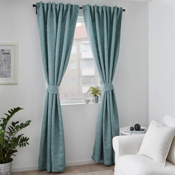 利萨布里特 窗帘附系带,2幅 蓝色 250 厘米 145 厘米 2.39 公斤 3.63 平方米 2 件