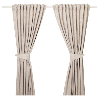 LISABRITT 利萨布里特 窗帘附系带,2幅, 米黄色, 145x250 厘米