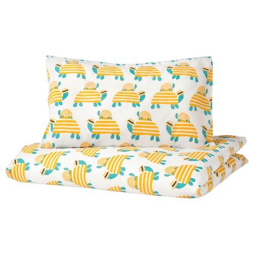 略朗德 婴儿床被套/枕套, 海龟 黄色, 110x125/35x55 厘米