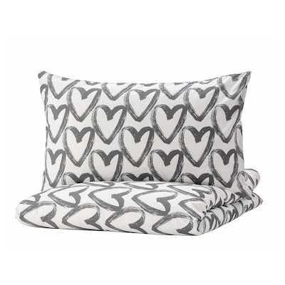 LYKTFIBBLA 利可菲巴 被套和2个枕套, 白色/灰色, 200x230/50x80 厘米