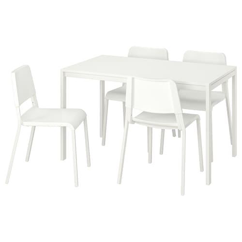 麦托 / 帝奥多斯 一桌四椅, 白色/白色, 125x75 厘米