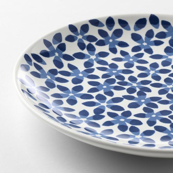 麦德伦 餐盘 白色/蓝色/图案 22 厘米