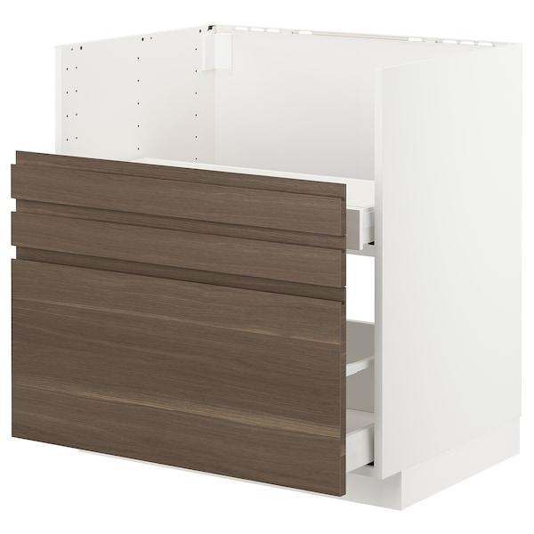 米多 布列德逊 水槽/2前挡板/2抽屉专用底柜 白色/沃托普 胡桃木纹 80.0 厘米 61.6 厘米 88.0 厘米 60.0 厘米 80.0 厘米