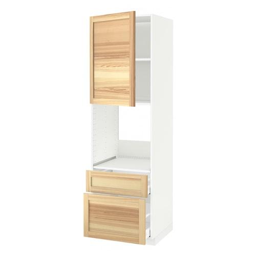 米多 / 马斯麦 烤箱高柜+门/2个抽屉 白色/图汗 白蜡木 60.0 厘米 62.0 厘米 208.0 厘米 60.0 厘米 200.0 厘米