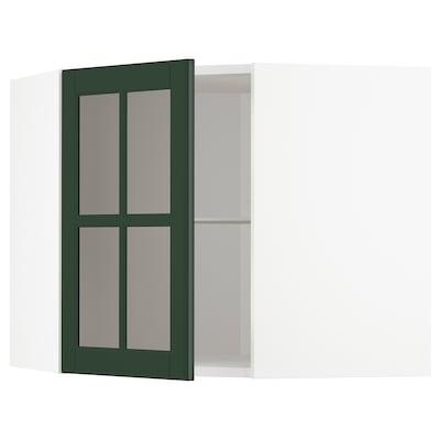 METOD 米多 玻璃门转角壁柜带搁板, 白色/伯德比 深绿色, 68x37x60 厘米