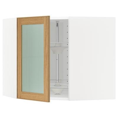 METOD 米多 玻璃门转角壁柜带转篮, 白色/埃克斯塔 橡木, 68x37x60 厘米