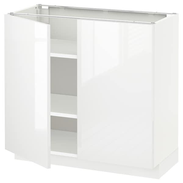 METOD 米多 底柜带搁板/2门, 白色/林胡特 白色, 80x37x70 厘米