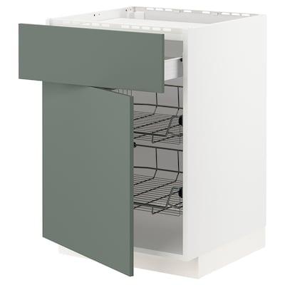 METOD 米多 / FÖRVARA 弗瓦拉 灶用底柜/1屉/2网篮, 白色/博达尔普 灰绿色, 60x60x80 厘米