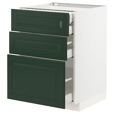 METOD 米多 / MAXIMERA 马斯麦 底柜3前板/2低屉/1中屉/1高屉, 白色/伯德比 深绿色, 60x60x80 厘米