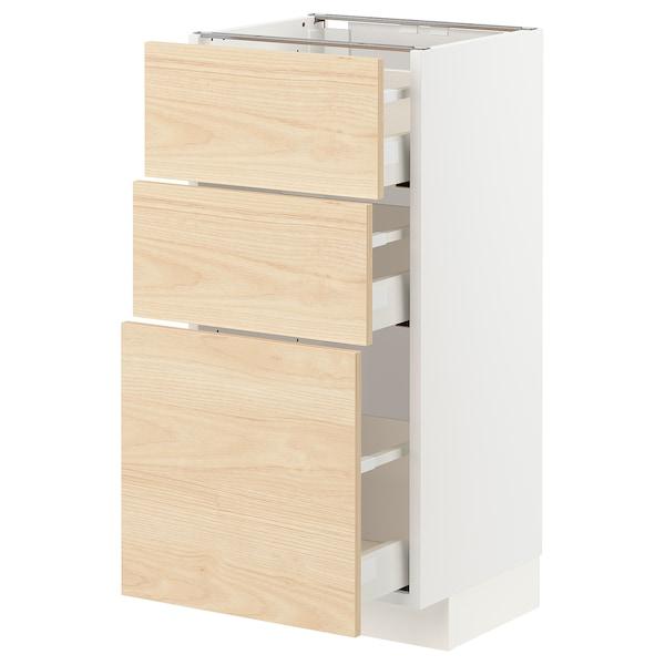 METOD 米多 / MAXIMERA 马斯麦 底柜,带3个抽屉, 白色/阿斯克松 浅白蜡木纹, 40x37x80 厘米