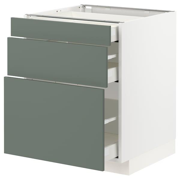 METOD 米多 / MAXIMERA 马斯麦 底柜,带3个抽屉, 白色/博达尔普 灰绿色, 60x60x70 厘米