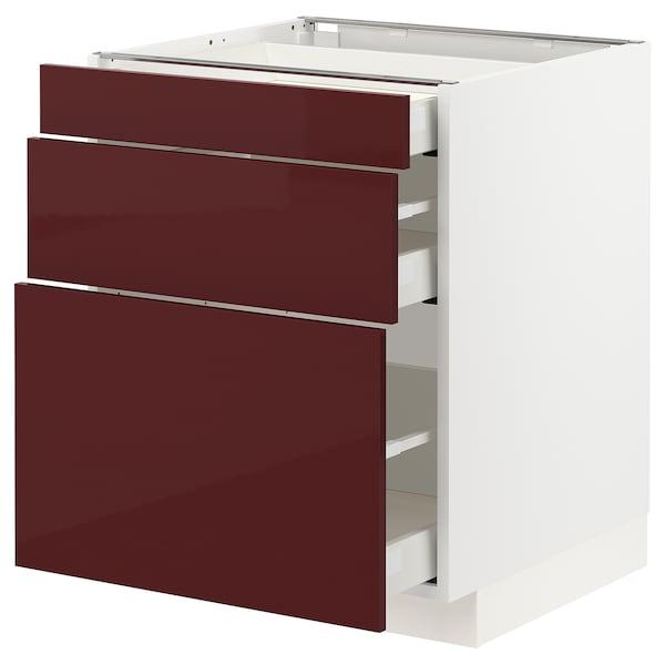 METOD 米多 / MAXIMERA 马斯麦 底柜,带3个抽屉, 白色 卡勒普/高光 深红褐色, 60x60x70 厘米