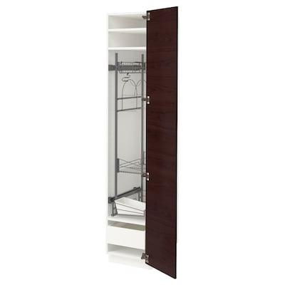 METOD 米多 / MAXIMERA 马斯麦 高柜,带清洁用品内配件, 白色 阿斯克松/深褐色 仿白蜡木, 40x60x200 厘米