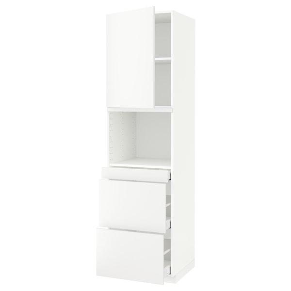 METOD 米多 / MAXIMERA 马斯麦 微波炉高柜组合,带柜门/3个抽屉, 白色/哈格比 白色, 60x60x220 厘米