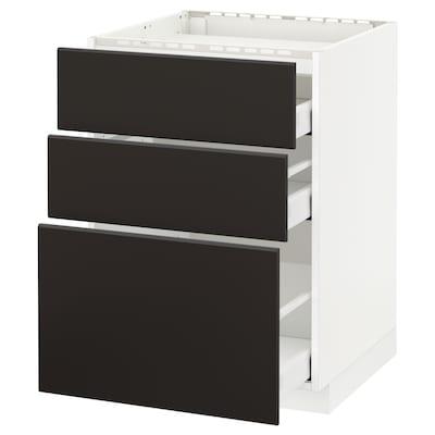 METOD 米多 / MAXIMERA 马斯麦 灶用底柜/3前板/3屉, 白色/孔巴卡 煤黑色, 60x60x80 厘米