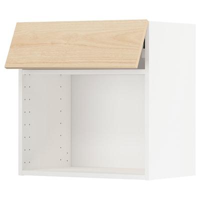METOD 米多 推进式门微波炉烤箱壁柜, 白色/阿斯克松 浅白蜡木纹, 60x37x60 厘米