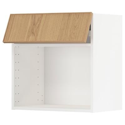 METOD 米多 推进式门微波炉烤箱壁柜, 白色/埃克斯塔 橡木, 60x37x60 厘米