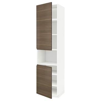 METOD 米多 微波高柜框/2门/搁板, 白色/沃托普 胡桃木纹, 60x60x240 厘米