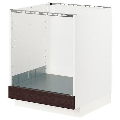 METOD 米多 灶具底柜, 白色 阿斯克松/深褐色 仿白蜡木, 60x60x70 厘米