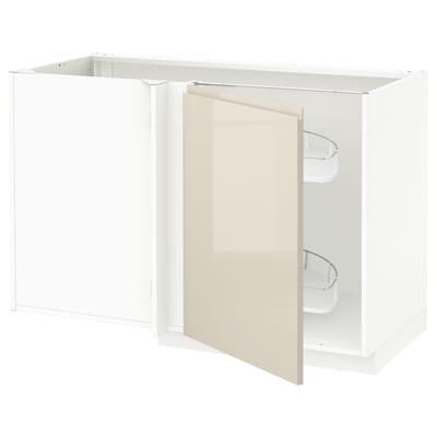 METOD 米多 转角底柜含拉出配件, 白色/沃托普 高光浅米色, 128x68x80 厘米