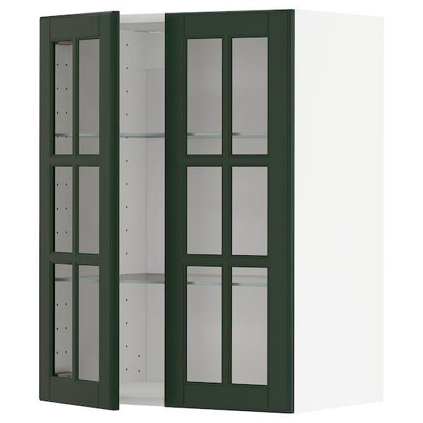 米多 搁板/玻璃双门壁柜 白色/伯德比 深绿色 60.0 厘米 37 厘米 38.6 厘米 80.0 厘米