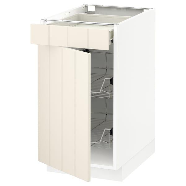 米多 / 弗瓦拉 底柜,带网篮/抽屉/门, 白色/希塔普 灰白, 40x60x70 厘米