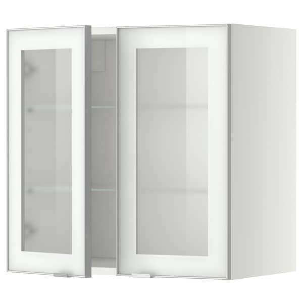米多 搁板/玻璃双门壁柜, 白色/朱迪斯 毛玻璃, 60x37x60 厘米