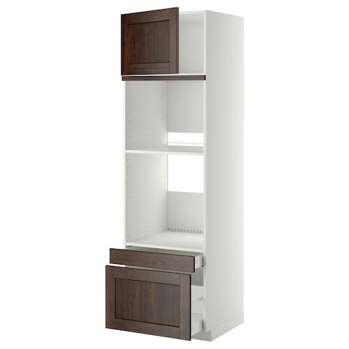 米多 / 马斯麦 烤箱用高柜框/门/2屉, 白色/爱哲伦 褐色, 60x60x200 厘米