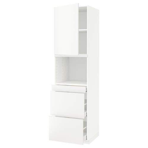 米多 / 马斯麦 微波炉高柜组合,带柜门/3个抽屉, 白色/哈格比 白色, 60x60x220 厘米