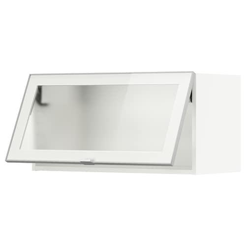 米多 水平推进式玻璃门壁柜, 白色/朱迪斯 毛玻璃, 80x37x40 厘米