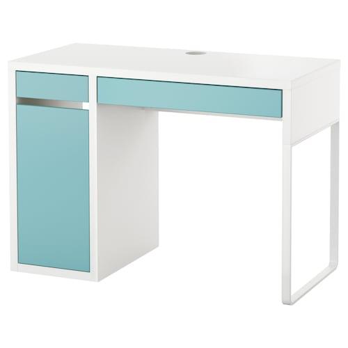 米克 书桌, 白色/浅青绿色, 105x50 厘米