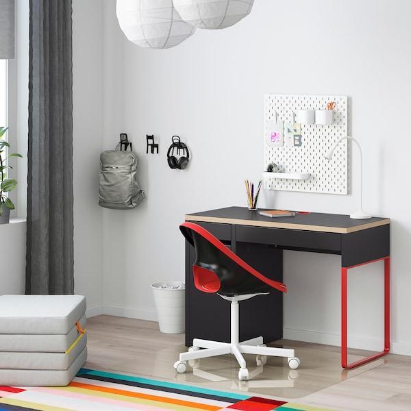 MICKE 米克 书桌, 煤黑色/红色, 105x50 厘米