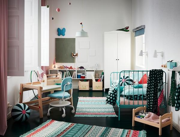 MINNEN 米隆 加长床框架带床板, 天蓝色, 80x200 厘米