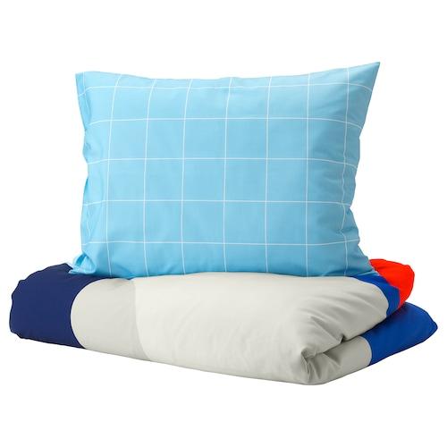 莫伊里黑特 被套和枕套 蓝色/几何图形 200 厘米 150 厘米 50 厘米 80 厘米
