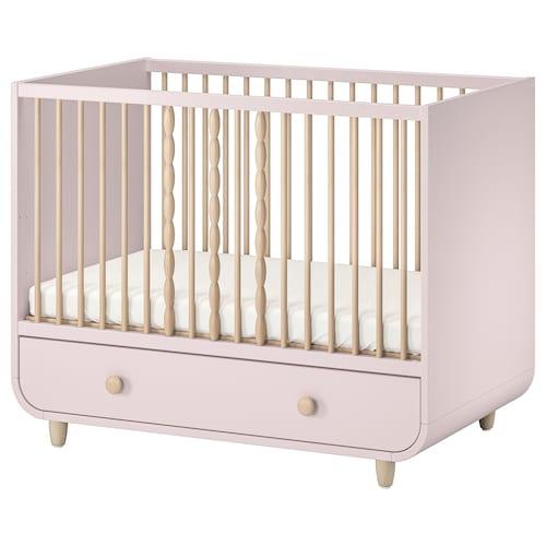 穆尔拉 带抽屉婴儿床, 浅粉色, 60x120 厘米