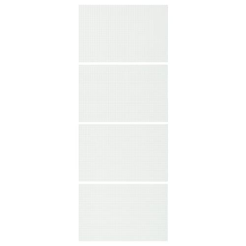 耐科克 滑门框面板4件, 格纹图案磨砂玻璃, 75x201 厘米