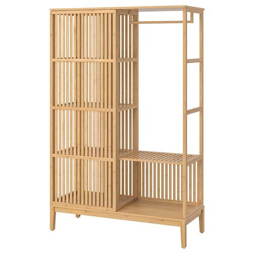 诺德希萨 开放式衣柜,带滑门 竹 120 厘米 47 厘米 186 厘米