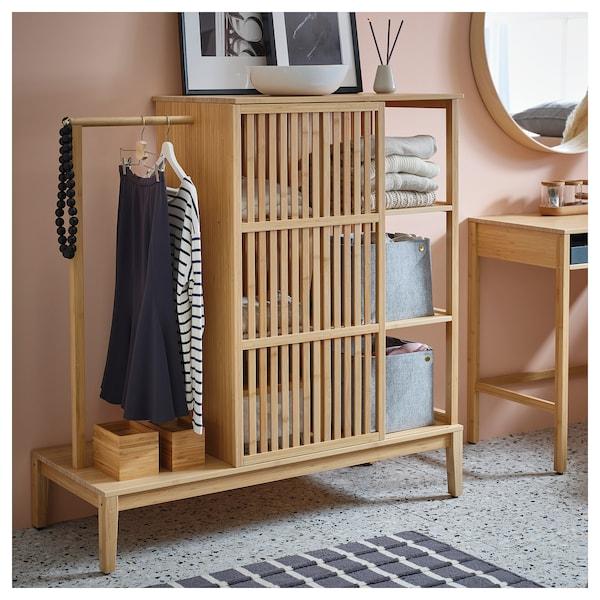诺德希萨 开放式衣柜,带滑门 竹 120 厘米 47 厘米 123 厘米