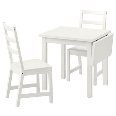NORDVIKEN 诺德维肯 一桌二椅, 白色/白色, 74/104x74 厘米