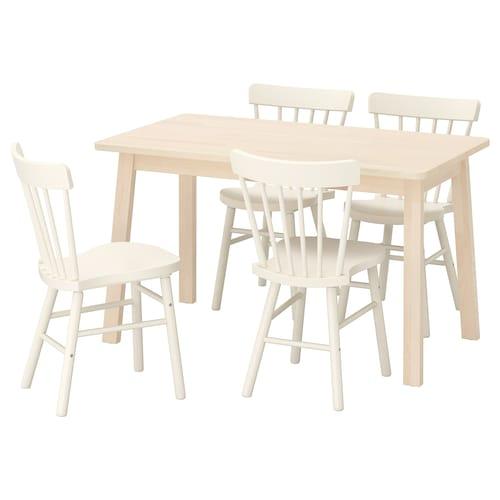 诺鲁克 / 诺勒利 一桌四椅 桦木/白色 125 厘米 74 厘米