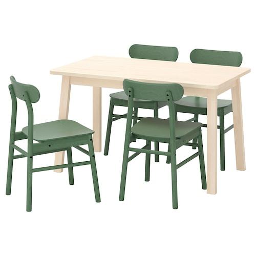 诺鲁克 / 瑞宁 一桌四椅 桦木/绿色 125 厘米 74 厘米