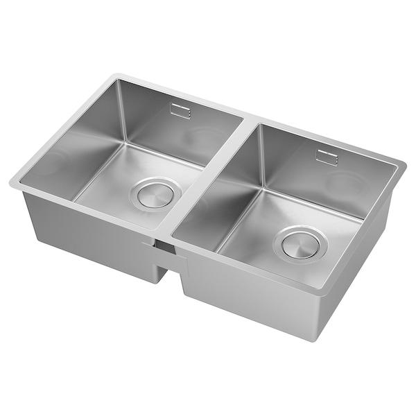 NORRSJÖN 诺煌 嵌入式水槽,带2个槽, 不锈钢, 73x44 厘米