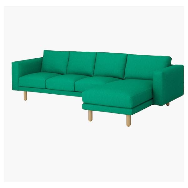 NORSBORG 诺斯伯 4人沙发套, 带贵妃椅/伊度 亮绿色