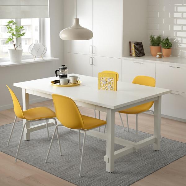 诺德维肯 / 雷夫尼 一桌四椅, 白色/布鲁林 白色, 152/223x95 厘米