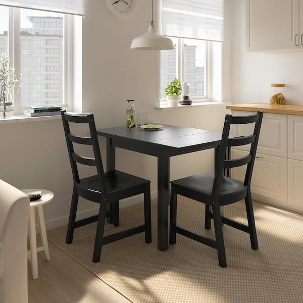 诺德维肯 / 诺德维肯 一桌二椅, 黑色/黑色, 74/104x74 厘米
