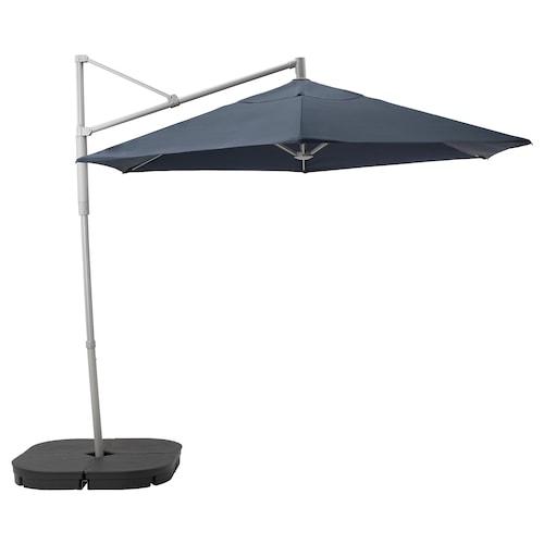 奥克诺 / 林德亚 悬挂式阳伞,配伞座 蓝色/斯瓦尔多 深灰色 180 克/平方米 265 厘米 300 厘米