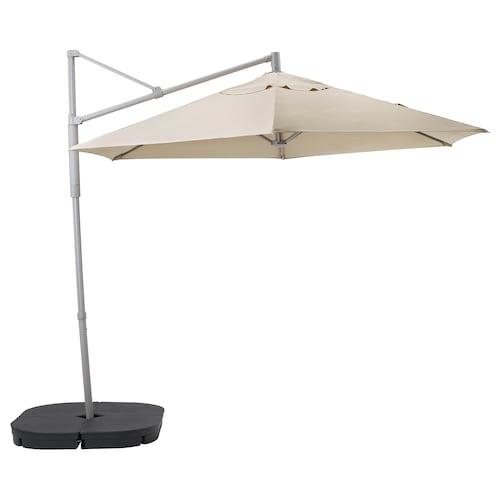 奥克诺 / 林德亚 悬挂式阳伞,配伞座 米黄色/斯瓦尔多 深灰色 200 克/平方米 265 厘米 300 厘米